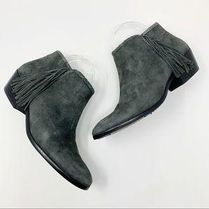 Sam Edelman Grey Suede Paige Ankle Fringe Booties